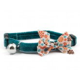 Ancol Cat Collar Vintage Bow Safety Teal